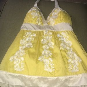 Bebe Yellow & White Halter Top
